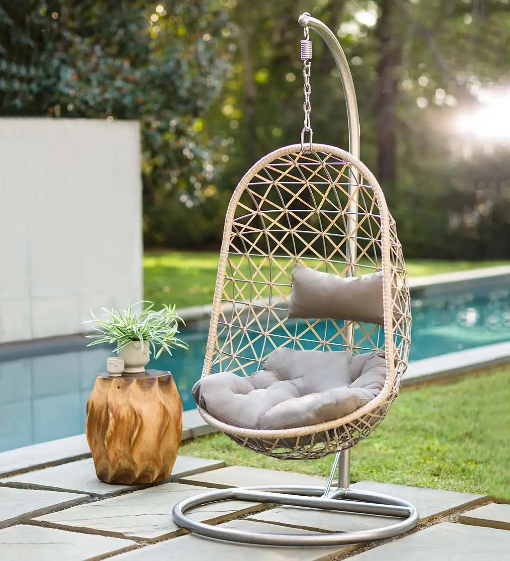 Indoor Outdoor Egg Chair Swing With Stand Plowhearth