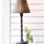 Waterproof Outdoor Wicker Table Lamp Brown Plowhearth