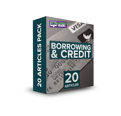 20 Borrowing and Credit PLR Articles PackOnly $5.99