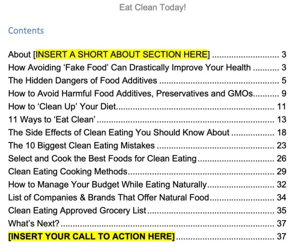 Clean-eating-ebook-contents
