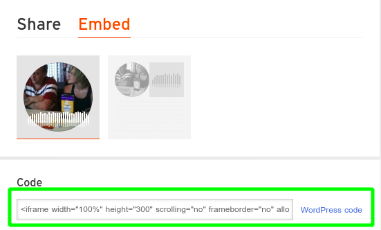 Embed code of SoundCloud user