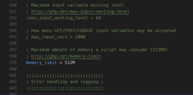 changing the memory limit