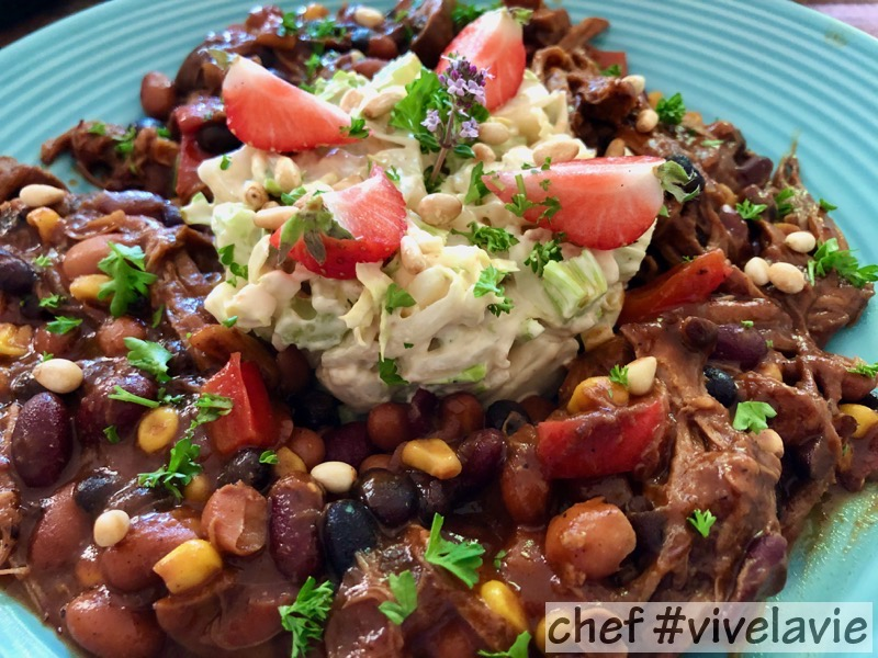 Chili con pulled pork met koolsla