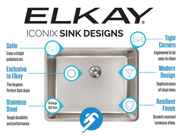 elkay iconix infographic sink features
