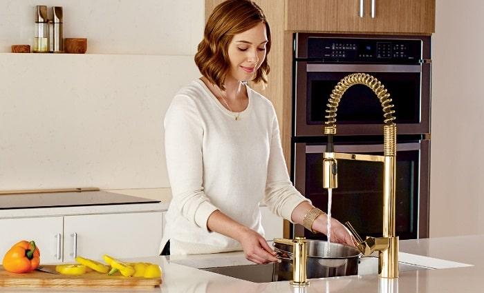 brushed gold moen align kitchen faucets