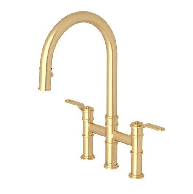 armstrong pull down bridge kitchen faucet with c spout
