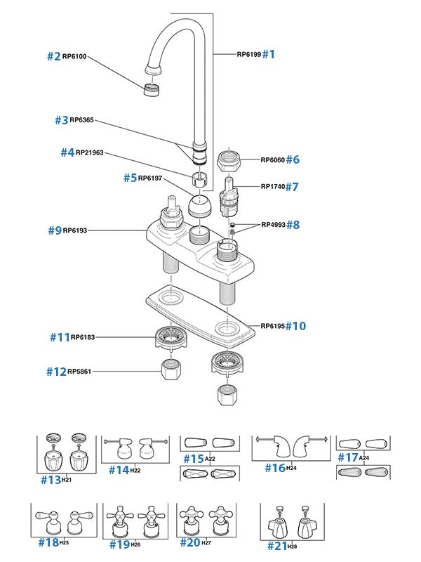 delta bar faucet parts