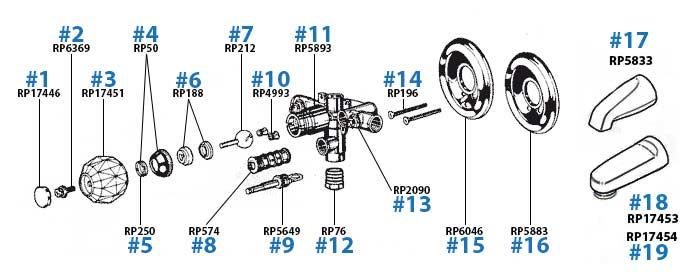 delta bathtub and shower valve repair parts