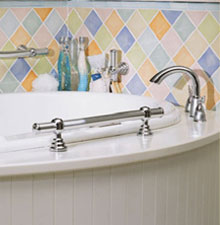 Grab bars on the side of a whirlpool tub are safe and stylish