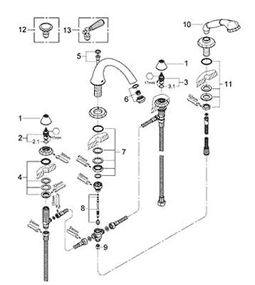 parts for grohe kensington series bath