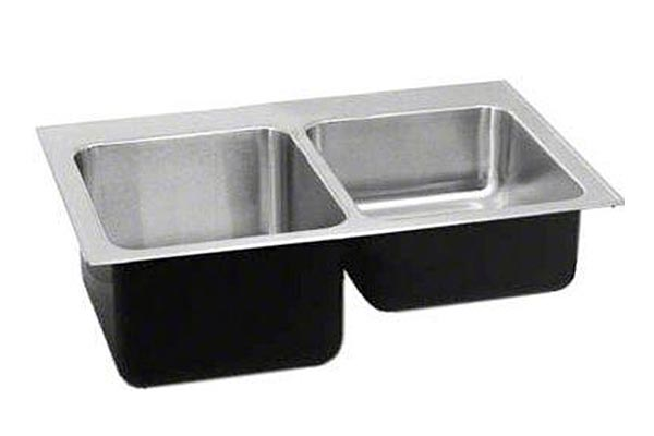 stainless steel double bowl drop in laundry sinks with faucet ledge one shallow bowl and one deep bowl