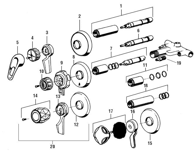 mixet shower faucet parts