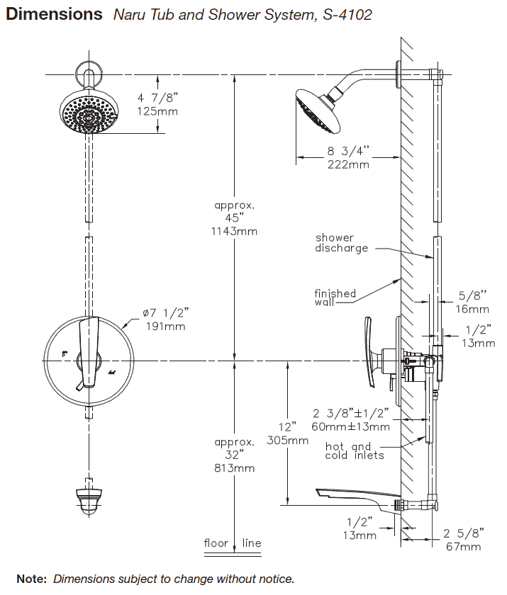Symmons Naru TubShower Systems