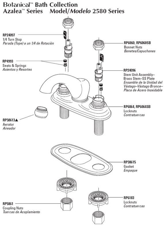 delta bathroom faucet parts for model 2580