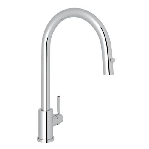 rohl perrin rowe holborn pull down kitchen faucet metal lever handle