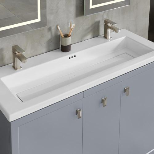 ronbow 48 inch aravo solutions sinktop in white 22 inch depth double single faucet hole