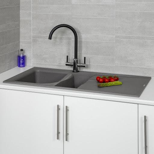 reginox elleci grey granite 1 5 bowl kitchen sink with waste included ego475