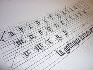 Amélie Dhesse, stage, calligraphie, gothique textura quadrata, enluminure