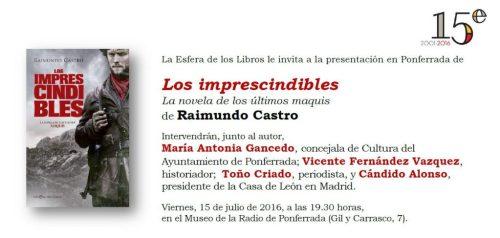Invitacion Los Imprescindibles de Raimundo Castro