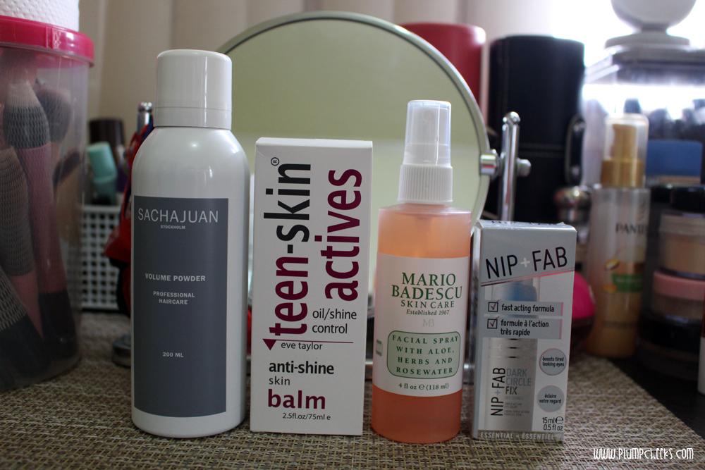 Sachajuan Volume Powder, Teen Skin Actives Oil/Shine Control Skin Balm, Mario Badescu Facial Spray, Nip + Fab Dark Circle Fix