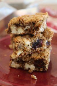 Gluten-free cranberry white chocolate oat bars