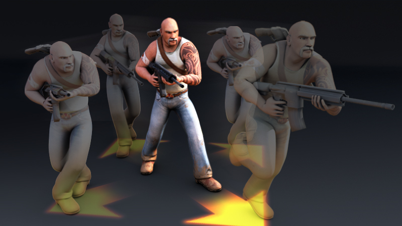 game animation example of a man with a gun