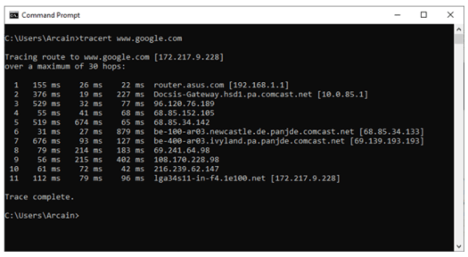 Traceroute Tracert in Windows 10