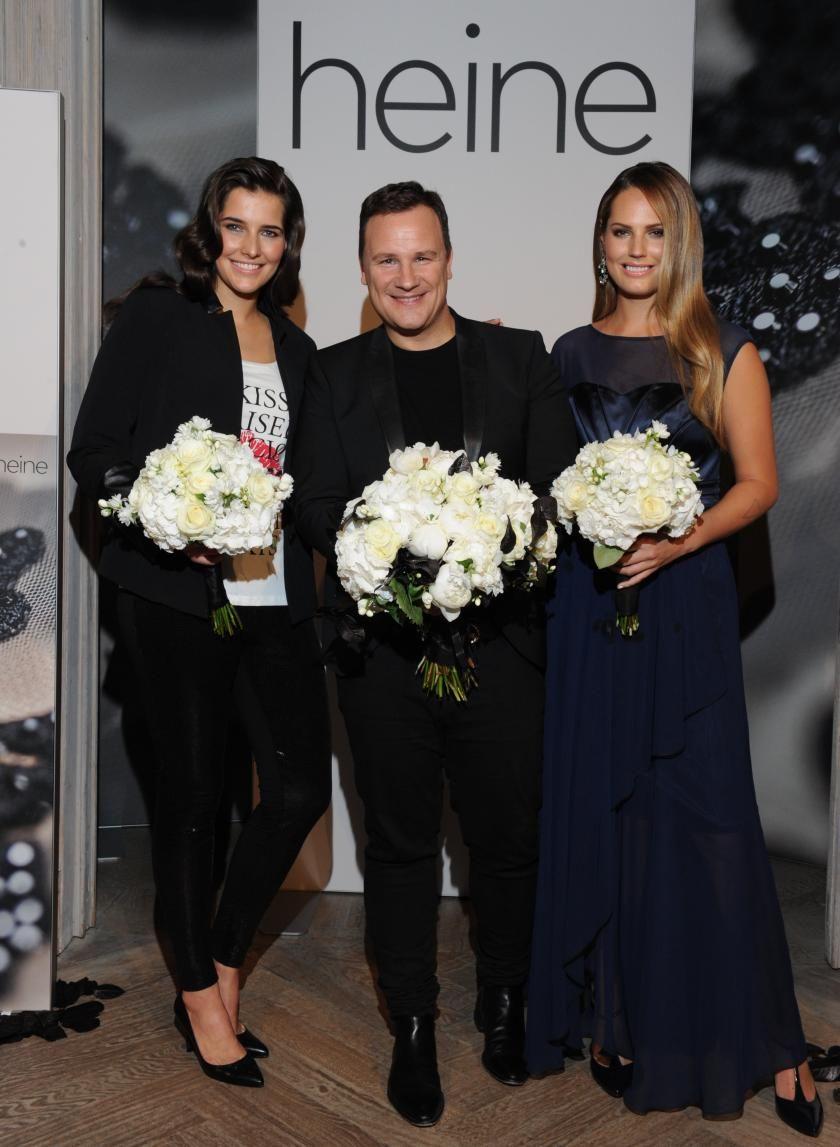 Nach der Fashionshow! Alex Underwood und Veronika Nagyova mit Guido Maria Kretschmer I Bild: Heine