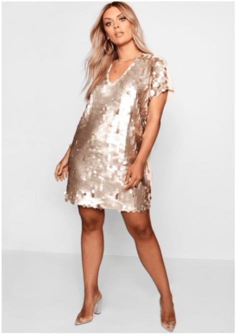 Kleid mit goldenen Pailletten von Boohoo