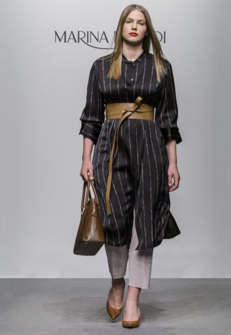 Hemdblusenkleid mit Taillengürtel aus Leder | Marina Rinaldi