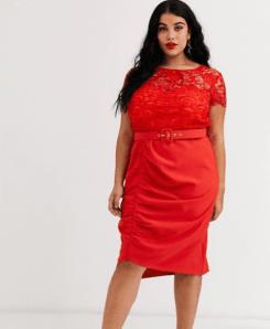 Rotes Kleid mit Taillengürtel, Sitze und Raffung | Paper Dolls bei Asos Curve