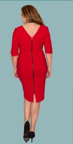 Nathaly | Rotes körpernahes Kleid mit raffiniertem Reißverschluss am Rücken | Dina Wacker zeigt Plus Size Mode