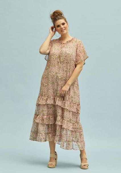 Trendfarbe Beige: Zauberhaft transparentes Kleid mit Volonts | Zhenzi