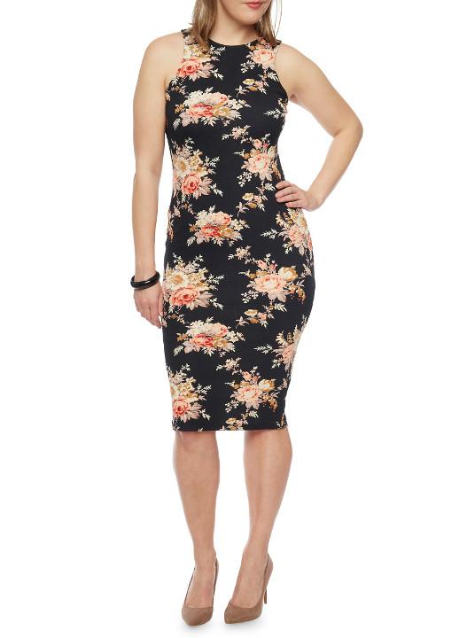 Plus Size Bodycon Floral Print Dress Plus Size Clothing