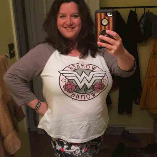 Nancy Basile in a Wonder Woman Raglan Tee
