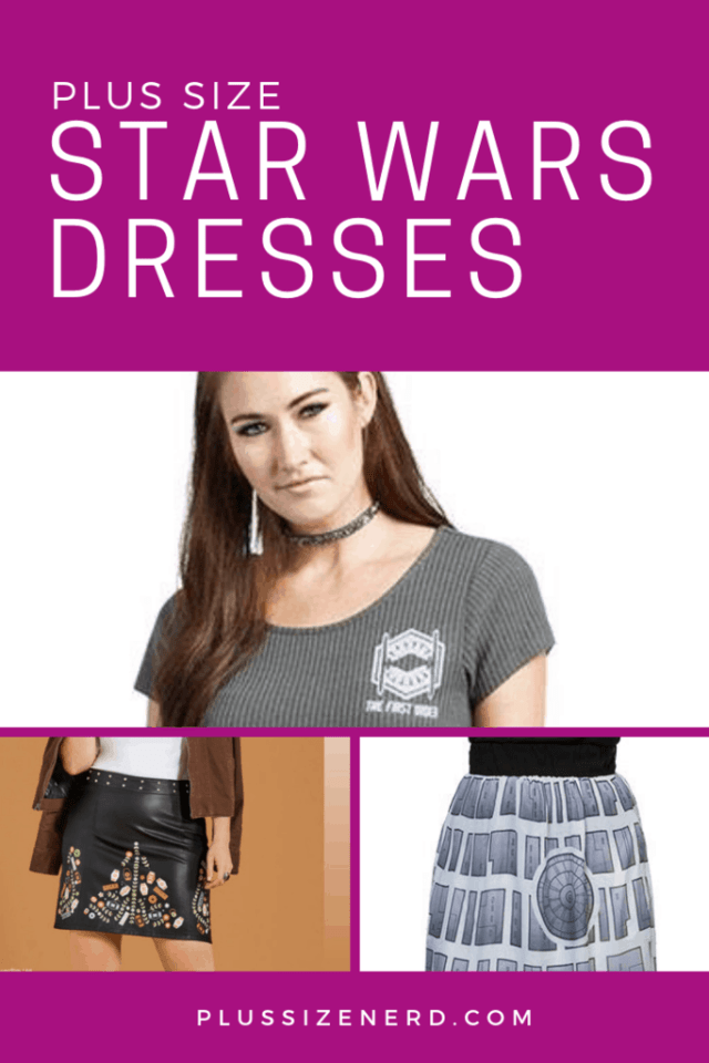 Collage of photos of dresses and skirts with Star Wars images