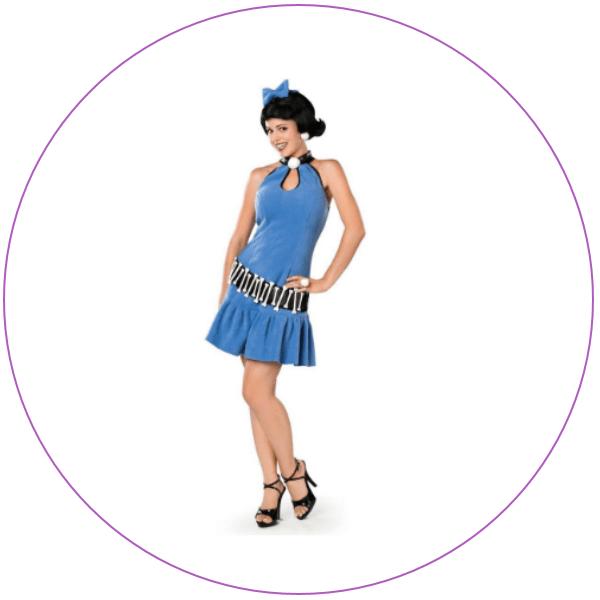 Woman wearing Plus Size Betty Rubble Costume
