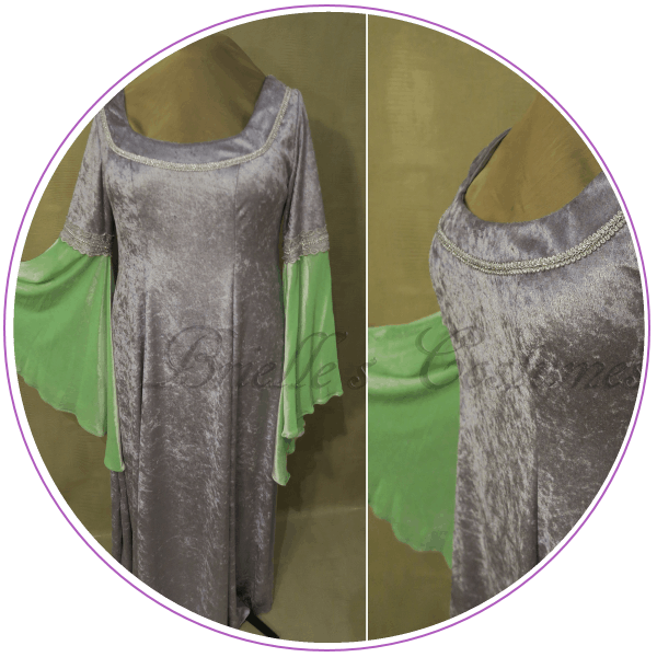 Gray dress with green sleeves
