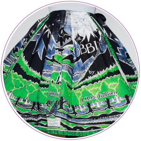 Skirt made of a blue and green illustration of a mountain