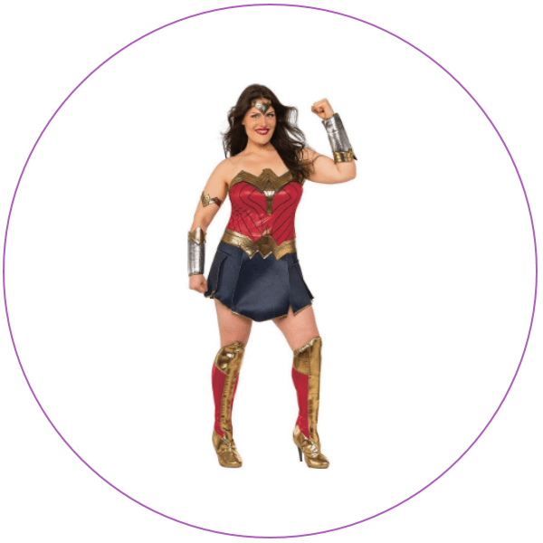 Woman wearing the Wonder Woman costume from the Justice League movie