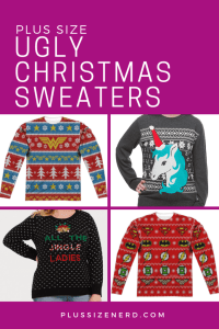 Picture collage of ugly Christmas sweaters