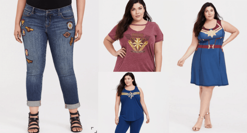 Hot Plus Size Captain Marvel Clothes