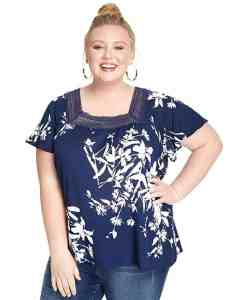 MERI SKYE Plus Size Short Flutter Sleeve Top with Crochet Trim