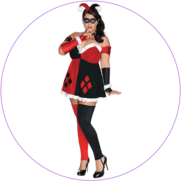 Plus Size Harley Quinn Red Black Costume
