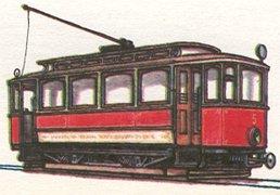 Motorový vůz z roku 1899 - ilustrace z časopisu ABC - na obrázku je však chybně umístěný reflektor - má být v horní části