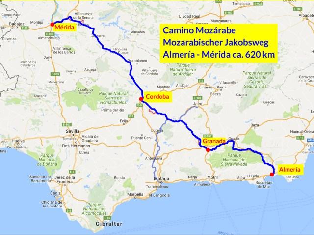 Plan des Camino Mozarabe