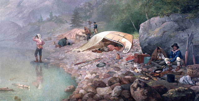 """Voyageurs at Dawn, 1871 by Frances Anne Hopkins. The Voyageurs had a certain """"je nai se quoi"""" more so than I however..."""