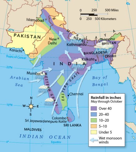 South West Monsoon – Arabian Sea branch and Bay of Bengal branch