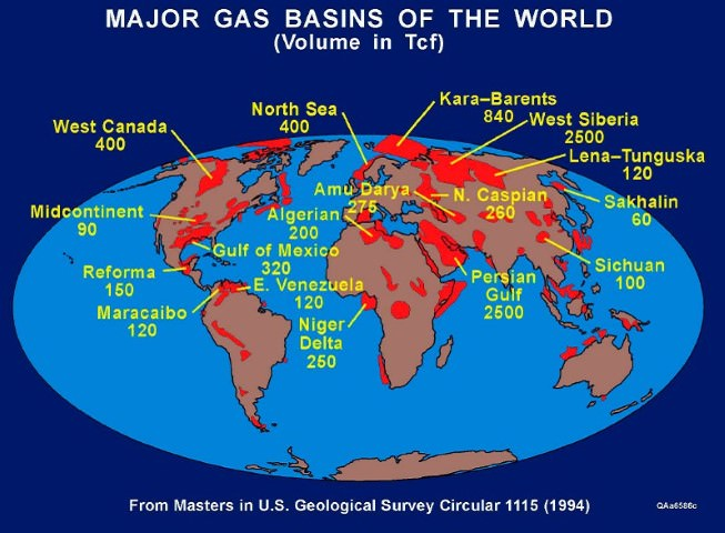 World Distribution of Natural Gas