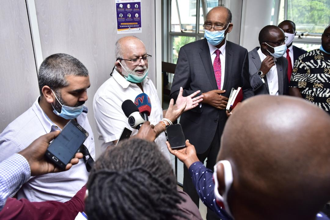 Mr. Sudhir and his lawyers from Kampala Associated Advocates after a recent court victory. The Supreme Court has handed him another victory (PHOTO/File).